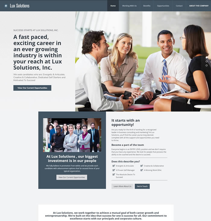Philadelphia Web Design Portfolio - Lux Solutions Careers