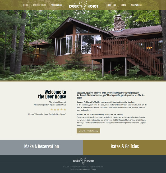 Mercer Vacations / The Deer House Web Design Portfolio
