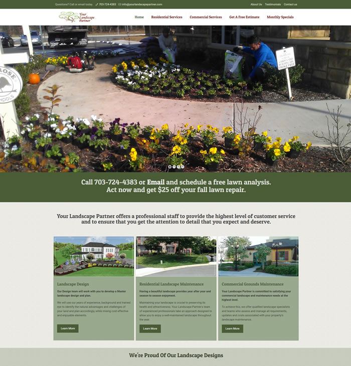 Your Landscape Partner Web Design Portfolio