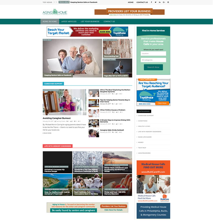 Philadelphia Web Design Portfolio - Aging In Home